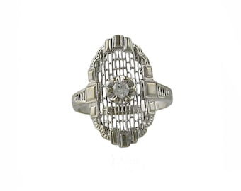14K White Gold Edwardian Filigree Diamond Ring