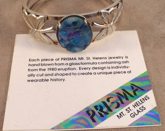 Badavici Prisma Glass & Sterling Cuff Bracelet From Mt. St. Helens
