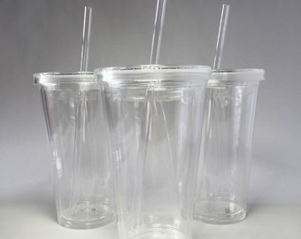 Acrylic Cup with Lid & Straw, Blank for Personalization.