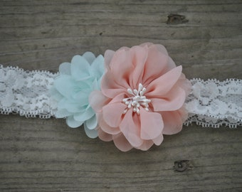 Mint & Blush Lace Headband
