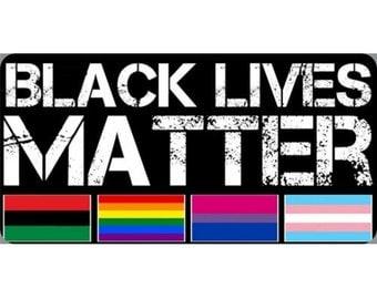 Black Lives Matter Flags Photo License Plate - LPO2295