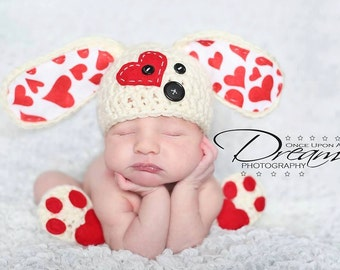 d1083686b Babies Valentines Day Dresses 1. puppy love hat newborn and and paws  booties slippers valentines photo prop newborn boy hat infant