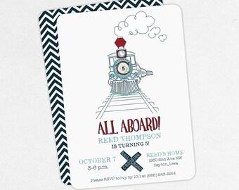 Train Birthday Invitation, Birthday Invitation PDF, Printable Birthday Invitation, Printed, Red, Navy, Railroad, Steam Train, All Aboard