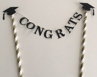 Graduation Cake Topper ~ 2016 Graduation Cake Topper ~ Graduation Cake Bunting ~ Black and Gold Party Decor ~ Graduation Cap Topper