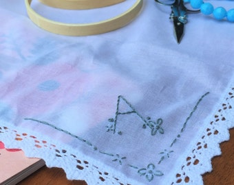PDF Pattern for Embroidered Handkerchief: Initial A