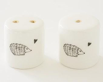 Ceramic Salt and Pepper Shakers - Hedgehog