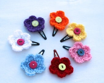Set of 7 hairpins, small hand-knitted flower hairpins for young girls,