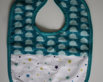 Bib baby 3-9 month double sponge blue whales and White Star