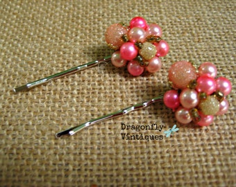 Vintage Hair Pins, Set of 2, Upcycled, Recycled, Repurposed Jewelry, Pink, Pearls, Silvertone, Eco Friendly, Wedding, Bridesmaids  /25