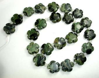 Kambaba Jasper Beads, 16x16mm Flower Beads, 16.5 Inch, Full strand, Approx 23 beads, Hole 1 mm, A Quality (290036001)