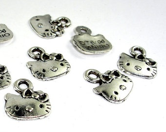 Hello Kitty Charms, Zinc Alloy, Antique Silver Tone, 12x14mm, 20 pcs, Hole 2 mm (006873047)