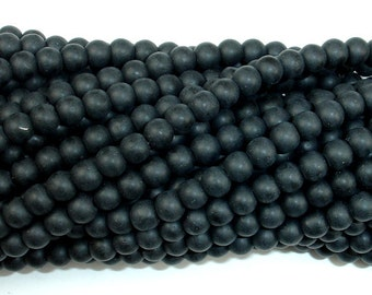 Matte Black Stone, 4.5mm Round Beads, 15.5 Inch, Full strand, Approx 98 beads, Hole 1 mm (146054003)