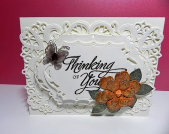 Thinking of You greeting card with lovely ariana flower