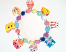 "Shopkins Charm Bracelet ""We're Having A Party"", Shopkns Jewelry, Shopkins Bracelet, Shopkins Necklace, Shopkins Jewelry Set"