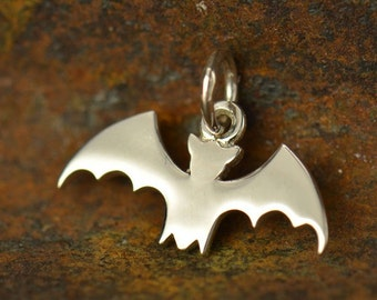 Sterling Silver, Bat Charm, Silver Bat Charm, Halloween Charm, Bat Jewelry, Halloween Jewelry, Halloween Bat, Vampire Charm, Vampire Jewelry
