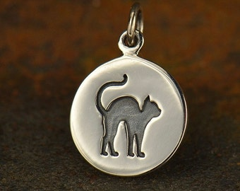 Sterling Silver, Etched Cat Charm, Halloween Cat, Cat Charm, Silver Cat Charm, Halloween Charm, Halloween Jewelry, Black Cat