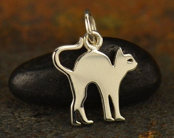 Sterling Silver, Halloween Cat, Cat Charm, Cat Jewelry, Halloween Charm, Halloween Jewelry, Silver Cat, Silver Halloween, Black Cat