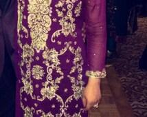Pakistani Dress- Wine Chiffon Straight Shirt with Gold Han-Embroidery and Cigarette Pants- Indian, Pakistani, Bollywood Shalwar Kameez