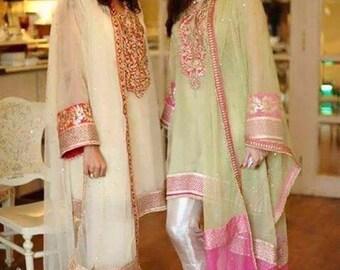 Pakistani Suit- Gotta Work Net Kurta with Cigarette Pants- Indian,Pakistan,Bollywood salwar Kameez