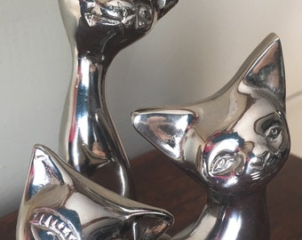 3 Silver Plated Brass Cat Figurines - Cat Family Figurines - Vintage Cat Figurines