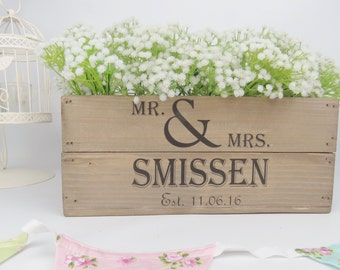 Personalised Vintage Style Small Wooden Apple Crate Wedding Crate Wedding Gift Wedding Table Center Piece