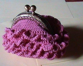wallet pink crochet purse