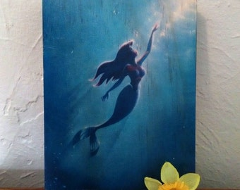 Ariel Swimming/The Little Mermaid - Handmade Wooden Sign