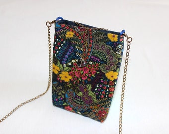 Small bag in navy blue cotton, patterned with yellow and pink flowers