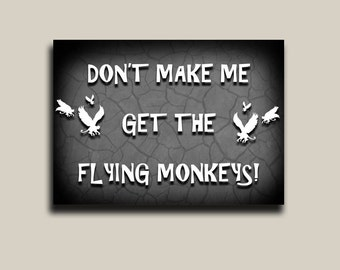 Halloween, wall decor, wizard of oz, flying monkeys, scary print mounted
