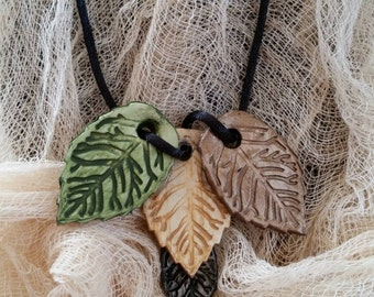 Fall Leaves Clay Pendant Necklace