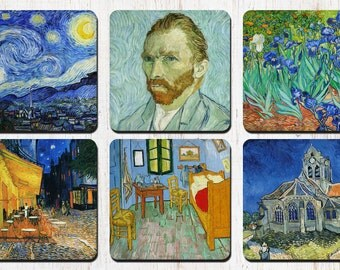 Vincent Van Gogh Coasters, Van Gogh, Vangogh, Starry Night, Irises, Drink Coasters, Decorative Coasters, Coaster Set, Wine Accessories