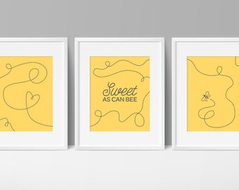 Sweet As Can BEE Bee Printables Baby Nursery Yellow