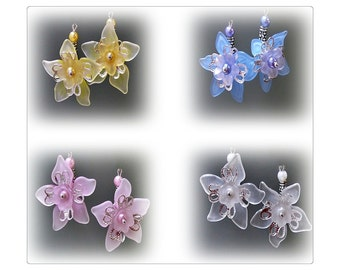 Earrings,  Lucite flower, white, pink, blue, yellow, clip on or pierced fittings