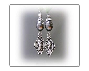 Silver on Silver Silouhette Cameo earrings choose clip on or pierced fittings