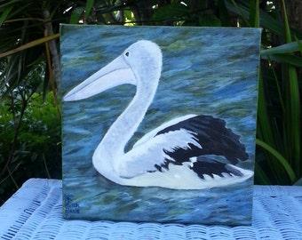 Original Painting - Pelican Painting - Bird Painting - Noosa Painting - Australian Art - Canvas Art - Acrylic Painting - Small Painting