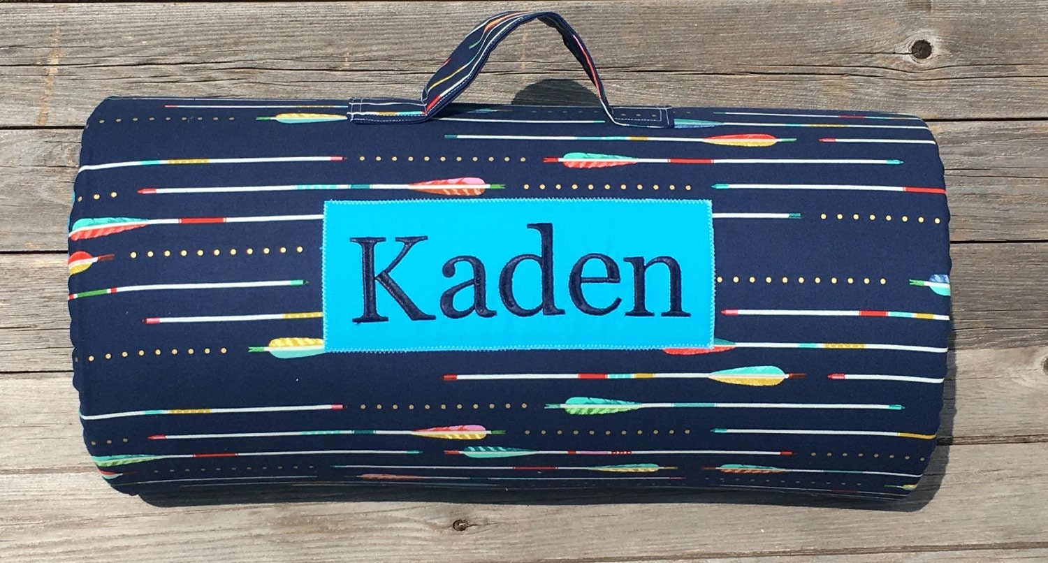 Preschool Kinder Mat Personalized Navy Arrow Nap Mat Cotton