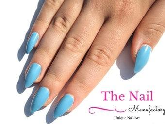 Baby Blue Fake Nails - Glossy False Nails - Handpainted Nail Set - Light Blue Nail Set - choose Stiletto Nails, Oval Nails, Square Nails
