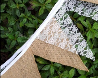 9 Feet Rustic Jute Hessian Burlap Floral Lace Bunting Banner Shabby Chic Vintage Wedding Decoration