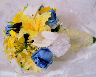 Wedding Bouquet, Brides Bouquet, Silk Flowers, Artificial Bouquet, Garden Wedding