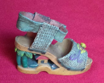 Rare Miniature Shoe with a House Carved out of the Heel - Multicolored