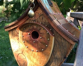 Unique Barnwood Birdhouse Copper Hanging Abode Wedding Gift Reclaimed Recycled  #1227