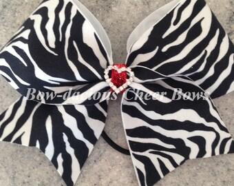 Zebra & Heart Bling Bow