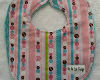 Baby girl bib,newborn girl bib, feeding bib, snap bib, infant girl bib, handmade, Ready to ship