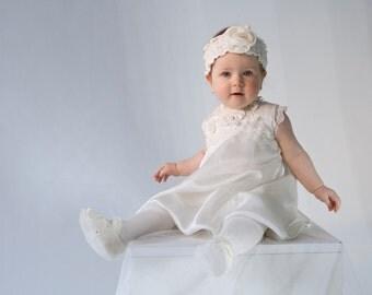 Silk Christening gown, Hair baptism Accessory, Baptism dress,  Fleurs girls dress, Weding dress, Flatties for Baptism, Baby shoes