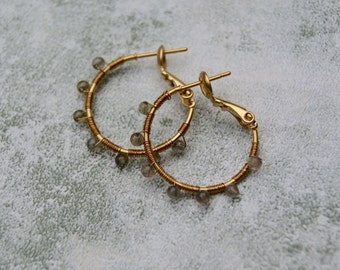 Tiny Wire Wrapped Labradorite Hoop Earrings, Gold Filled Hoop earrings with Gemstones, Labradorite Earrings, Grey Gemstone Earrings