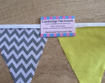 Grey and White Chevron Zig Zag and Yellow Cotton Fabric Bunting per metre