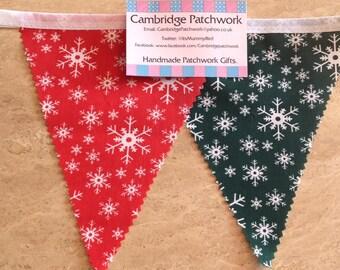 "Handmade ""CHRISTMAS SNOWFLAKE""  Red & Green Festive Decoration Bunting"