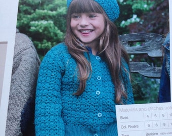 Girls Crochet Shell Patterned Cardigan Crochet Pattern