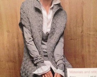 Girls,Ladies Long Cable Gilet (XS, S, M, L, XL, XXL) Knitting Pattern