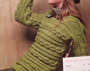 Ladies  Knitted Sideways Cable Sweater Knitting Pattern